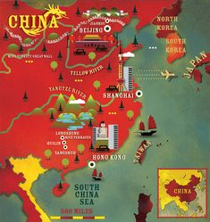 China map (Alexandre Verhille) for Lonely planet magazine China Map, China Travel, Travel Maps, Vintage Maps, Vintage Travel Posters, Tsubaki Chou Lonely Planet, Beijing, Shanghai, Pictorial Maps