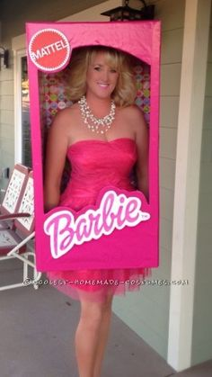 This super fun Barbie in a Box costume was fairly easy and very inexpensive to make, and was an absolute HIT this Halloween! I wore it first to a part...