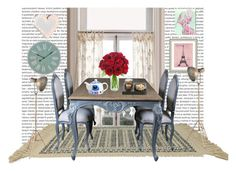"""""""dinning room"""" by tiannaloved ❤ liked on Polyvore featuring interior, interiors, interior design, home, home decor, interior decorating, Anthropologie, Karastan, Arteriors and R2"""