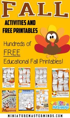 Preschool Workbooks, Numbers Preschool, Preschool Learning Activities, Free Preschool, Autumn Activities, Thanksgiving Worksheets, Halloween Worksheets, Thanksgiving Preschool, Free Worksheets For Kids