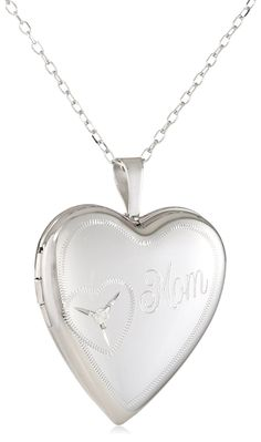 Momento Lockets Sterling Silver 0.01Ct Heart Shaped Locket Diamond Necklace ** Click image to review more details.