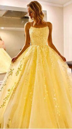 Stunning Prom Dresses, Pretty Prom Dresses, Straps Prom Dresses, Hoco Dresses, Yellow Prom Dresses, Princess Prom Dresses, Colorful Prom Dresses, Tulle Prom Dress, Prom Dreses