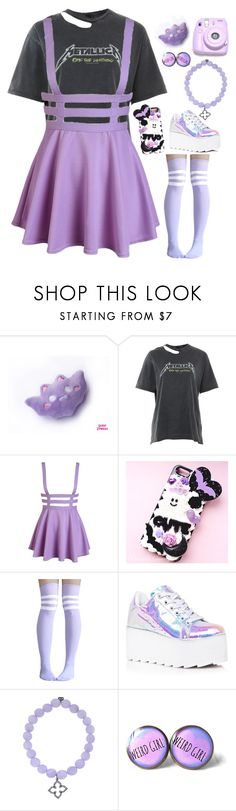 """""""Pastel Metallica Fangirl"""" by blurry-face2 ❤ liked on Polyvore featuring Topshop, Samsung, Y.R.U., Sydney Evan and Polaroid"""
