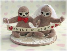Sloth Wedding Cake Toppers Needle Felted Three by Mythillogical