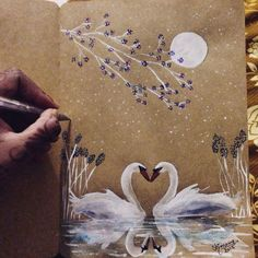 True Love ❤️ !! #love #shimonastudio #birds #swan #illustration #handmade #instapic #moon #flowers #drawing #ink