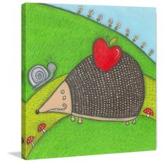 Marmont Hill - 'Hedgehog' by Tatijana Lawrence Painting Print on Wrapped Canvas
