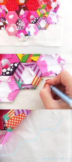 How To: Hexagon Table Runner : I like this tutorial on a pillow case method to . : How To: Hexagon Table Runner : I like this tutorial on a pillow case method to finish a hexie quilt! Quilting Tips, Quilting Tutorials, Quilting Projects, Machine Quilting, Hexagon Quilting, Foundation Piecing, Hexagon Pattern, Paper Piecing Patterns, English Paper Piecing