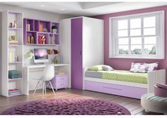 Habitación infantil con armario y cama nido