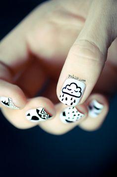 Latest 16 nail art designs inspired by rain Love Nails, How To Do Nails, Pretty Nails, Fun Nails, Crazy Nails, Beautiful Nail Designs, Cool Nail Designs, Nailart, Latest Nail Art