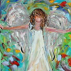 Vote for me : apps.agorapulse.com  Finalist in Artiste wine label contest  Little Angel of Love PALETTE KNIFE oil by Karensfineart