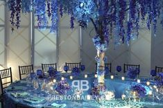 Preston Bailey Event Ideas, Preston Bailey, Ideas for Events, Inspiration for Event Design, Reception Tables, Blue, Tall Centerpiece