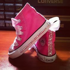 640815e9c20b White jeweled shoes with light pink ribbon laces and light pink jewels on  line. Stephanie Smith · Bedazzled Converse