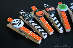 Clothes pins get spooky with #washi tape and Halloween badges
