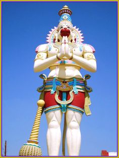 Towering statue of Ramdoot Hanuman is located at Keesaragutta Temple; Keesara belongs to Ranga Reddy district in the Indian state of Telangana. It is located around 10 kms from ECIL and 40 kms from Hyderabad. It is also known as Kesarigiri i.e. Hanuman, the son of Kesari. Over a period of time, name has colloquially transformed and is now called Keesara also located on a small hillock so Keesaragutta. This place is beautiful valley surrounded by hills and verdant greenery. Jai Sri Ram, Hanuman Chalisa, Sri Rama, Indian Gods, Hinduism, Buddha, Lord, Princess Zelda, Wonder Woman