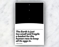 Earth, a Fragile Basket for Humanity \\ a Robert Heinlein Typographic Quote Poster \\ Science Fiction and Astronomy Inspired Print by TheGeekerie on Etsy