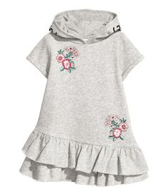 H&M Hooded Sweatshirt Dress - Gray Short-sleeved dress in sweatshirt fabric with embroidery. Hood, kangaroo pocket, and seam at lower section with double flounce. Fashion Kids, Toddler Fashion, Baby Outfits, Toddler Outfits, Kids Outfits, Toddler Dress, Baby Dress, Toddler Girl, Dress Girl