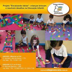 """Projeto do Colégio Escala """"Encaixando ideias"""" onde crianças brincam e resolvem desafios na Educação Infantil."""