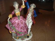 STUNNING GERMAN DRESDEN LACE DANCERS Porcelain Figurine
