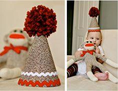 Fabric Birthday Hat w/ Giant Pom Pom