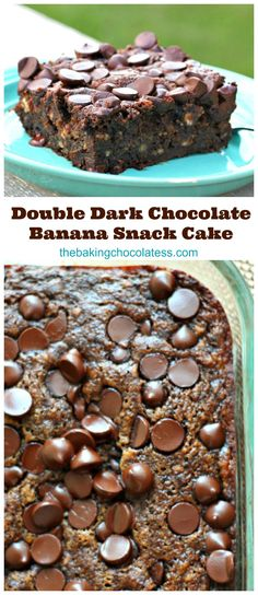 Double Dark Chocolate Banana Snack Cake (We can't stop eating it!) via @https://www.pinterest.com/BaknChocolaTess/