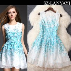 Europe 2015 High-end Spring Summer New Floral Printing Three-dimensional Petals Beaded Sleeveless Vest Dress