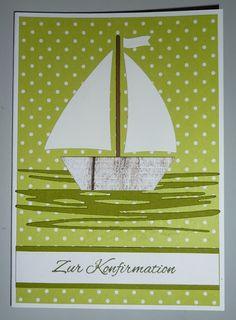 Konfirmationskarte mit gestanztem Segelboot
