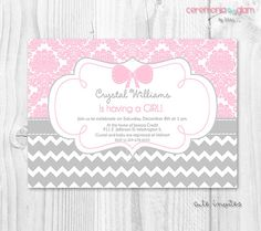 Baby shower girl pink damask and chevron  by ceremoniaGlam on Etsy