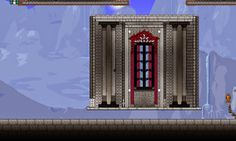 Terraria. Window trials for my new palace. This is a functional room now! I've simplified the window and moved to smaller, whiter bricks.