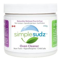 Simple Sudz Oven Cleaner. Fragrance-free, biodegradable. Safe around children and pets. Contains saponified coconut oil (organic soap), silicates, soda ash, diatomaceous earth, pumice & water. #unscented #scentfree #fragrancefree