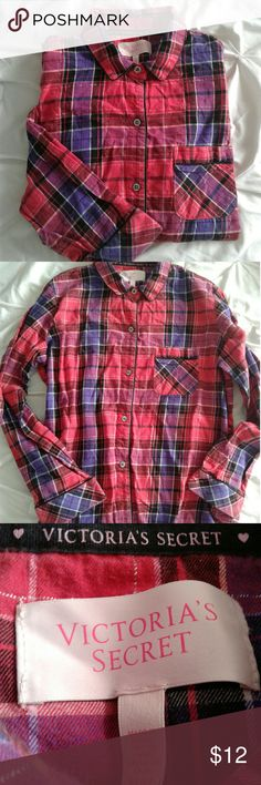 Victoria's Secret sleep shirt Women's very gently pre loved red/blue/black button down sleep top with left breast pocket size Medium. Thanks for looking Bundle to save!!! Victoria's Secret Intimates & Sleepwear Pajamas