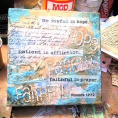 Canvas 4x4 - Mixed Media - Scripture Romans 12:12 - Abstract Design - Blues, Browns, Gold C#002