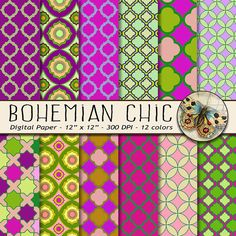 Moroccan Digital Paper, Moroccan Patterns in Pink and Green, Colorful Mosaic Bohemian Style Paper, Bohemian Moroccan Tile Digital Paper