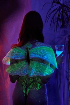 Green fairy, Absinth fairy by Ex Inferi. Wings with glowing pigments and UV neon pigments