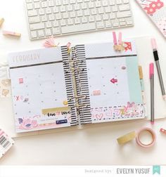 Feb Valentine Planner Spread Monthly Spread by   Evelynpy