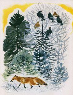 Tatiana Kapustina - Year in the Woods Squirrel Art, Fantastic Fox, Drawing Techniques, Animal Paintings, Vintage Christmas, Illustrators, Deer, Illustration Art, Wildlife