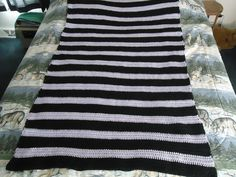 Black and Lilac Stripes Hand Crocheted Afghan by CraftsbyCummins