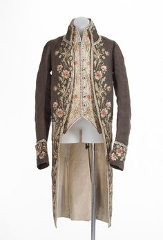 Frock coat and waistcoat, France (c. 1775), silk, linen, wool, metal. | ngv, Australia