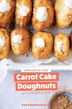 Baked doughnuts recipes make super treats! This carrot cake donuts recipe is naturally sweetened and filled with a delicious cream cheese filling. #bakeddoughnuts #donuts #carrotcake #healthytreats #babyledweaning #Healthyrecipes