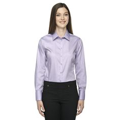 Boulevard Wrinkle-Free Women's Two-Ply 80's Dobby Taped Orchid 459 Dress Shirt With Oxford Twill