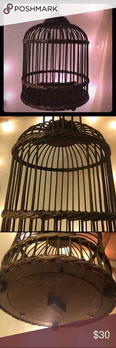 Wood & Wicker Decorative Bird Cage Gorgeous natural stained wood & wicker bird cage. Removable bottom, working sliding door. Metal fixture & hanger. Ask me anything! Other