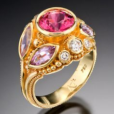 Spinel Heaven Ring in 18K gold set with exquisite hot pink and lavender spinels and diamonds. Photo: Barry Blau Photography Kent Raible Fine Art Handmade Jewelry