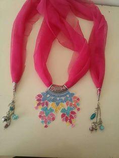 My Crochet Dream Diy Necklace Bracelet, Macrame Necklace, Crochet Necklace, Crochet Lace, Crochet Stitches, Tatting Jewelry, Point Lace, Scarf Jewelry, Needle Lace