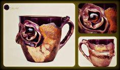 Art Tea Mug XL size  ....decorated with a polymer clay....