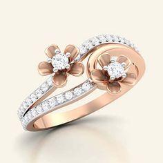 Blossoming lower diamond ring