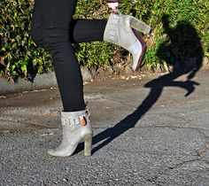 rosegold gray ankle boots