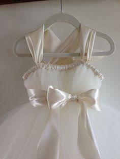 Ivory tutu flower girl dress NB 12 girls by HadandHarps on Etsy, $60.00
