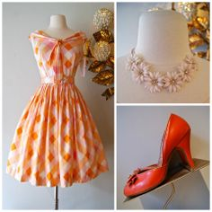 Early 60's polished cotton sundress and accessories — at Xtabay Vintage Clothing Boutique.