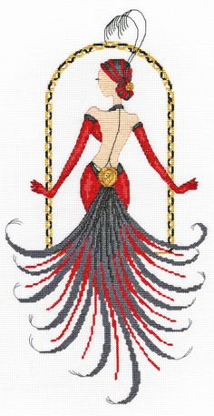 0 point de croix showgirl - cross stitch danseuse de cabaret