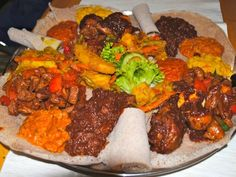 Safari Restaurant in Kaiserslautern, Germany serves food from East Africa - Ethiopia and Eritrea. All the food is served on and eaten with injera.   www.germanyja.com