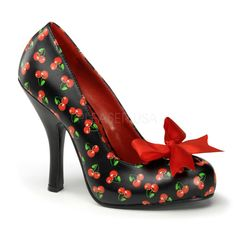 Pleaser PinUp Couture Cutiepie-06 Cherry Print Court Shoes